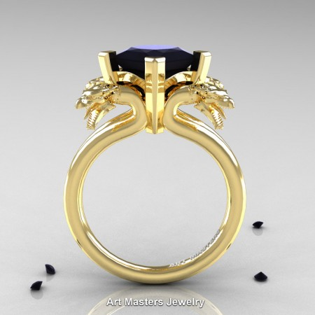 Modern-Scandinavian-14K-Yellow-Gold-3-Carat-Black-Diamond-Dragon-Engagement-Ring-R902-14KYGBD-F