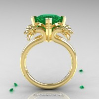 Scandinavian 14K Yellow Gold 2.0 Carat Princess Emerald Dragon Engagement Ring R902-14KYGEM