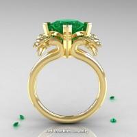 Scandinavian 14K Yellow Gold 2.0 Carat Princess Emerald Dragon Engagement Ring R902-14KYGEM