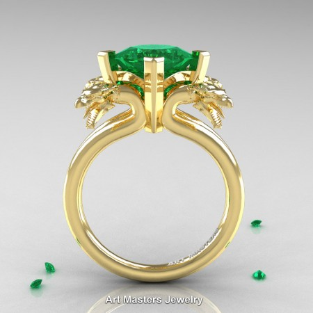Modern-Scandinavian-14K-Yellow-Gold-3-Carat-Emerald-Dragon-Engagement-Ring-R902-14KYGEM-F