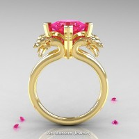 Scandinavian 14K Yellow Gold 2.0 Carat Princess Pink Sapphire Dragon Engagement Ring R902-14KYGPS