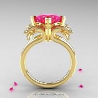 Scandinavian 14K Yellow Gold 2.0 Carat Princess Pink Sapphire Dragon Engagement Ring R902-14KYGPS