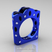 French 14K Blue Gold Three Stone Round and Marquise Black Diamond Wedding Ring R733-14KBLGDBD