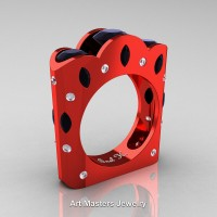 French 14K Red Gold Three Stone Round and Marquise Black Diamond Wedding Ring R733-14KREGDBD