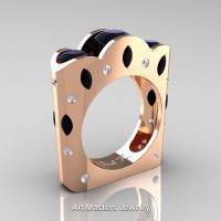 French 14K Rose Gold Three Stone Round and Marquise Black Diamond Wedding Ring R733-14KRGDBD