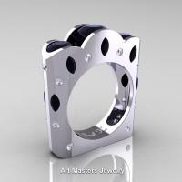 French 14K White Gold Three Stone Round and Marquise Black Diamond Wedding Ring R733-14KWGDBD