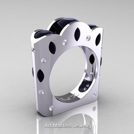 Dreamer-French-14K-White-Gold-Three-Stone-Round-and-Marquise-Blackand-White-Diamond-Engagement-Ring-Wedding-Ring-R733-14KWGDBD-P