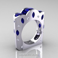 French 14K White Gold Three Stone Round and Marquise Blue Sapphire Diamond Wedding Ring R733-14KWGDBS