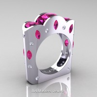 French 14K White Gold Three Stone Round and Marquise Pink Sapphire Diamond Wedding Ring R733-14KWGDPS