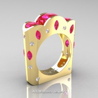 French 14K Yellow Gold Three Stone Round and Marquise Pink Sapphire Diamond Wedding Ring R733-14KYGDPS