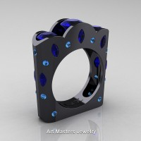 French 14K Black Gold Three Stone Round and Marquise Blue Sapphire Aquamarine Wedding Ring R733-14KBGAQBS