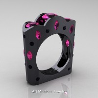 French 14K Black Gold Three Stone Round and Marquise Pink Sapphire Black Diamond Wedding Ring R733-14KBGBDPS