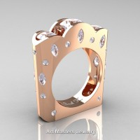 French 14K Rose Gold Three Stone Round and Marquise White Sapphire Diamond Wedding Ring R733-14KRGDW