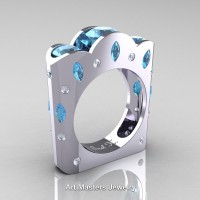 Dreamer - French 14K White Gold Three Stone Round and Marquise Aquamarine Diamond Wedding Ring R733-14KWGDAQ
