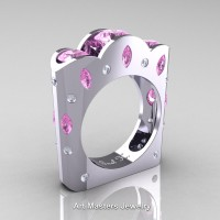 French 14K White Gold Three Stone Round and Marquise Light Pink Sapphire Diamond Wedding Ring R733-14KWGDLPS