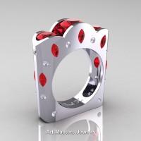 French 14K White Gold Three Stone Round and Marquise Ruby Diamond Wedding Ring R733-14KWGDR