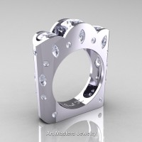 French 14K White Gold Three Stone Round and Marquise White Sapphire Diamond Wedding Ring R733-14KWGDWS