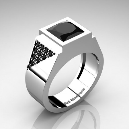 Mens-Modern-14K-White-Gold-3-Carat-Princess-Black-Diamond-Wedding-Ring-R9141K-14KWGBD-P