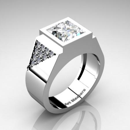 Mens-Modern-14K-White-Gold-3-Carat-Princess-Black-and-White-Diamond-Wedding-Ring-R9141K-14KWGDBD-P
