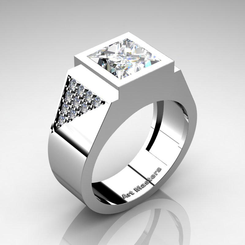 Mens Modern 14K White Gold 30 Ct Princess White Sapphire Diamond