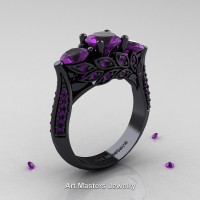 Nature Classic 14K Black Gold Three Stone Lavender Amethyst Laurel Leaf Engagement Ring R800-14KBGAM