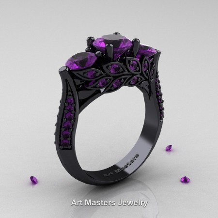 Nature-Classic-14K-Black-Gold-Three-Stone-Amethyst-Laurel-Leaf-Engagement-Ring-R800-14KBGAM-P