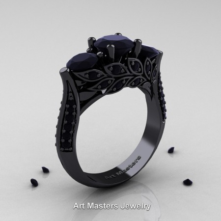 Nature-Classic-14K-Black-Gold-Three-Stone-Black-Diamond-Laurel-Leaf-Engagement-Ring-R800-14KBGBD-P