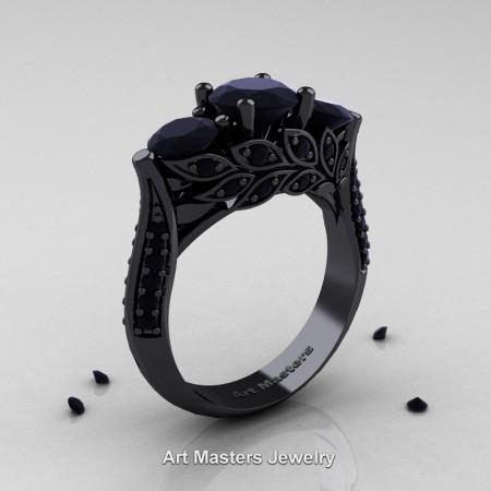 Nature-Classic-14K-Black-Gold-Three-Stone-Black-Diamond-Laurel-Leaf-Engagement-Ring-R800-14KBGBD-P