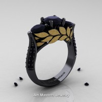 Nature Classic 14K Black and Yellow Gold Three Stone Black Diamond Laurel Leaf Solitaire Ring R800N-14KBYGBD