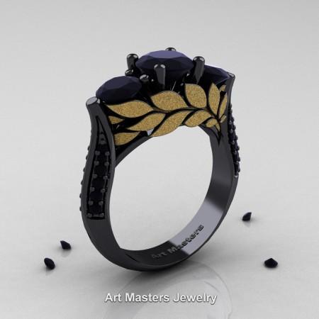 Nature-Classic-14K-Black-and-Yellow-Gold-Three-Stone-Black-Diamond-Laurel-Leaf-Engagement-Ring-R800N-14KBYGBD-P