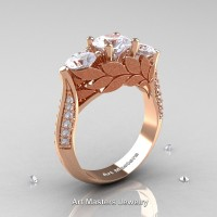 Nature Classic 14K Rose Gold Three Stone White Sapphire Diamond Laurel Leaf Solitaire Ring R800N-14KRGDWS