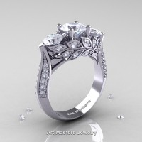 Nature Classic 14K White Gold Three Stone White Sapphire Diamond Laurel Leaf Engagement Ring R800-14KWGDWS