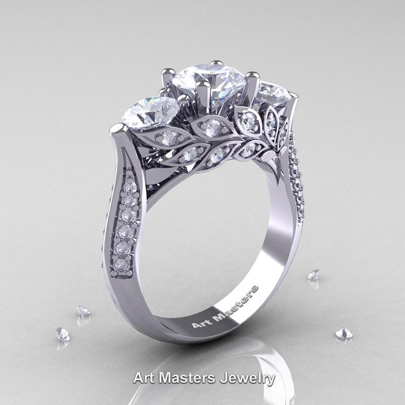 Nature Classic 14K White Gold Three Stone White Sapphire Diamond Laurel Leaf Engagement Ring