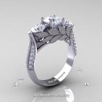 Nature Classic 14K White Gold Three Stone White Sapphire Diamond Laurel Leaf Solitaire Ring R800N-14KWGDWS