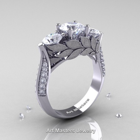 Nature-Classic-14K-White-Gold-Three-Stone-White-Sapphire-Diamond-Laurel-Leaf-Engagement-Ring-R800N-14KWGDWS-P
