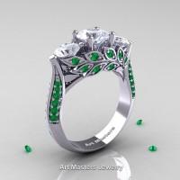 Nature Classic 14K White Gold Three Stone White Sapphire Emerald Laurel Leaf Engagement Ring R800-14KWGEMWS