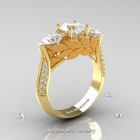 Nature Classic 14K Yellow Gold Three Stone White Sapphire Diamond Laurel Leaf Solitaire Ring R800N-14KYGDWS