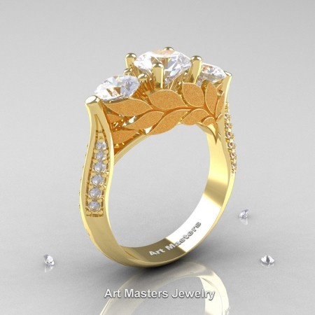 Nature-Classic-14K-Yellow-Gold-Three-Stone-White-Sapphire-Diamond-Laurel-Leaf-Engagement-Ring-R800N-14KYGDWS-P