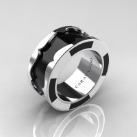 Caravaggio Mens 14K White Gold Black and White Italian Enamel Wedding Band Ring R618M-14KWGBLWEN