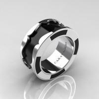 Caravaggio Mens 14K White Gold Black and White Italian Enamel Wedding Band Ring R618M-14KWGBLWEN