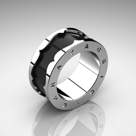 Caravaggio-Mens-14K-White-Gold-Black-Enamel-Wedding-Band-Ring-R618-14KWGBLEN-P