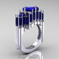 Gothic 14K White Gold 2.62 Ct Emerald Cut 4.0 Ct Baguette Cut Blue Sapphire Cathedral Ring R424-14KWGBS