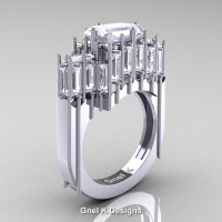 Gothic 14K White Gold 2.62 Ct Emerald Cut 4.0 Ct Baguette Cut White Sapphire Cathedral Ring R424-14KWGWS