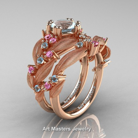 Nature-Classic-14K-Rose-Gold-1-0-Ct-Aquamarine-Light-Pink-Sapphire-Leaf-and-Vine-Engagement-Ring-Wedding-Band-Set-R340SS-14KRGLPSAQ-P