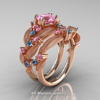 Nature Classic 14K Rose Gold 1.0 Ct Light Pink Sapphire Blue Topaz Leaf and Vine Engagement Ring Wedding Band Set R340SS-14KRGBTLPS