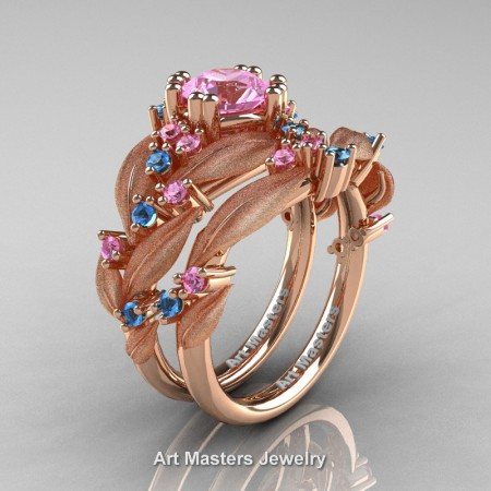 Nature-Classic-14K-Rose-Gold-1-0-Ct-Light-Pink-Sapphire-Blue-Topaz-Leaf-and-Vine-Engagement-Ring-Wedding-Band-Set-R340SS-14KRGBTLPS-P