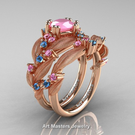 Nature-Classic-14K-Rose-Gold-1-0-Ct-Pink-Quartz-Light-Pink-Sapphire-Leaf-and-Vine-Engagement-Ring-Wedding-Band-Set-R340SS-14KRGLPSPQ-P