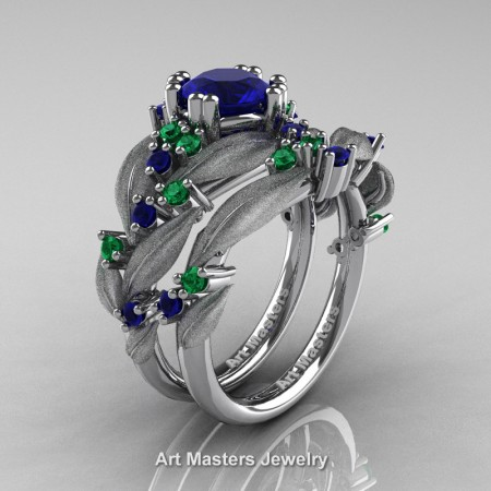 Nature-Classic-14K-White-Gold-1-0-Ct-Blue-Sapphire-Emerald-Leaf-and-Vine-Engagement-Ring-Wedding-Band-Set-R340SS-14KWGEMBS-P
