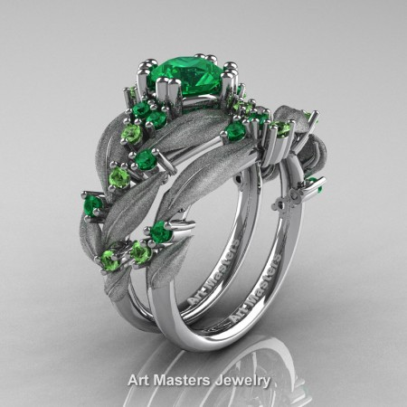 Nature-Classic-14K-White-Gold-1-0-Ct-Emerald-Green-Topaz-Leaf-and-Vine-Engagement-Ring-Wedding-Band-Set-R340SS-14KWGGTEM-P