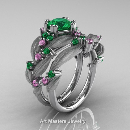 Nature-Classic-14K-White-Gold-1-0-Ct-Emerald-Light-Pink-Sapphire-Leaf-and-Vine-Engagement-Ring-Wedding-Band-Set-R340SS-14KWGLPSEM-P
